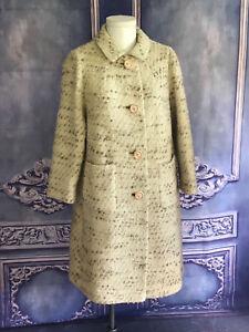 VNTG 1960s Ivory & Beige Boucle Classic Winter Coat LARGE Very Warm Youthcraft
