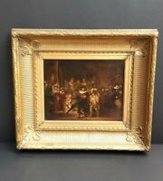 Antique C19th Rembrandt's Night Watch Copy, Original Oil On Board Miniature