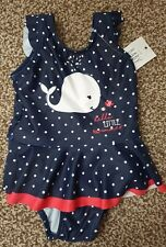 Bnwt Baby Girl Swimming Costume 6-9 Months George Whale Navy Blue Spot Skirt