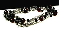 """Rare Vintage 48""""x1/4"""" Signed Miriam Haskell Dark Red Black Glass Bead Necklace"""