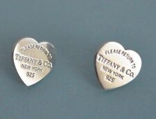 TIFFANY & Co.100% Authentic ; Sterling Silver 'Please Return To' Heart Earrings