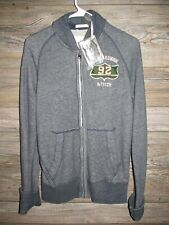 Abercrombie & Fitch Full Zip Varsity Jacket Mens Size Small Gray A&F