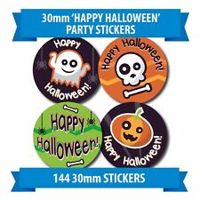 Spooky HALLOWEEN - 144 30mm Fun Kids Halloween stickers - Pumpkins Spiders Ghost