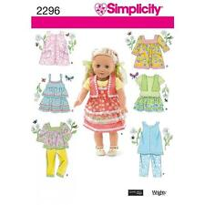SIMPLICITY SEWING PATTERN 18 INCH (45.5CM) DOLL CLOTHES DRESS TOP JUMPER 2296