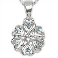 Collier/Halskette 6 Diamanten/1 Blautopas-Herzen-Anhäng