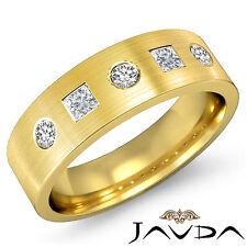 8mm Mens Round Baguette Diamond Half Wedding Band 14k Yellow Gold Ring 0.60Ct