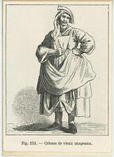 ANTIQUE 1882 WOMAN HAT SELLER ON 1803 PAPER ACEO SIZE MINIATURE ART OLD PRINT