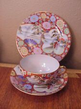 Antique Vintage 3 Piece Japanese Cup Saucer Dessert Plate Trio Hand Painted
