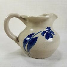 "Williamsburg Pottery Salt Glaze Creamer 3"" x 4"" Hand Painted Cobalt Blue Flower"
