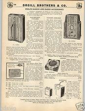 1935 PAPER AD Philco Console Radio Electric Battery Operated Car Auto Automobile