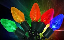 NEW 100 Holiday Time Super Bright Multi-Color LED C9 Christmas Lights Green Wire