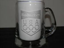Budweiser USA Olympic Etched Glass Mug