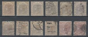 INDIA 1876 QV 6a & 12a LOT MOSTLY USED (ID:811/D61182)