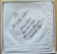 To My Mom Hankie For Wedding Day Gift