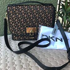 DKNY DONNA KARAN Heritage Lock Top Handle Purse Gold/Black Crossbody Bag