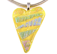 HEART PENDANT Dichroic Fused Glass Yellow Striped Rainbow Ripple Triangles 2""