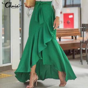 Women Summer Swing Skirt High Waist Ruffle Flare Wrap Dress Long Maxi Dress Plus