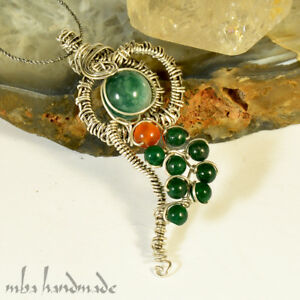 Natural Jade & Carnelian Agate Crystals in Sterling Silver Art Wrap Pendant