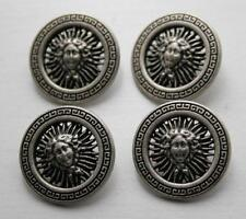 4 silver tone sunburst medusa designer style metal buttons large textured 31mm
