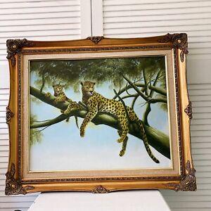 Stunning Vintage Oil on Canvas Leopard Ornate Frame Art Painting