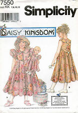 Simplicity Daisy Kingdom Child's Dress,Hat and Doll Dress Pattern 7550 7-12