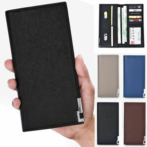 Men's Leather Wallet Phone ID Card Holder Coffee Brown Long Billfold