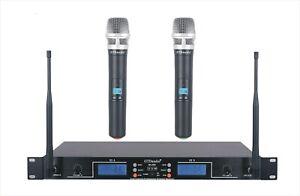 GTD Audio 2 x 100 Adjustable Ch UHF  Handheld wireless Microphone mic System 290