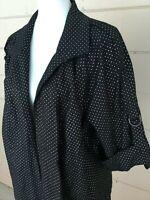 Linear Womens Black Linen Jacket NWT Plus 2X Open Front Top Metallic Silver Dots