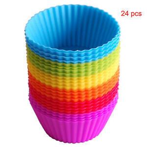 24 Pack Cupcake Molds Reusable Silicone Baking Cases Mini Muffins Birthday Party