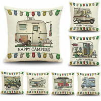 Happy Campers Camping Caravan Cushion Covers Throw Pillow Case Carton Home Decor