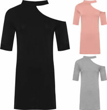 Machine Washable Solid Dresses for Women with Cold Shoulder