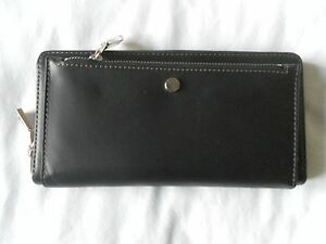 NEW AUTH FOSSIL OC ZIP CLUTCH BLACK/WHITE WOMENS WALLET