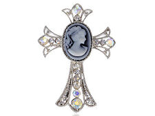 Rhinestone Cross Frame Pin Brooch Easter Blue Ponytail Maiden Lady Cameo