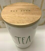 "NEW Rae Dunn Artisan Collection ""TEA"" Ivory Ceramic Cellar Wood RD Engraved Lid"