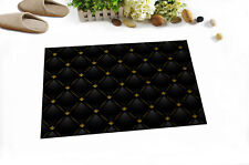 Black Leather Gold Pattern Shower Mat Home Floor Carpet Non-slip Door Bath Rug