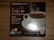 NEW KEURIG Cafe Escapes Dark Chocolate Hot Cocoa 16 K-Cups pods Free Ship