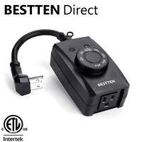 BESTTEN Outdoor Countdown Timer Outlet w/ Photocell Light Sensor ETL  Black
