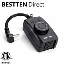 BESTTEN Outdoor Countdown Timer Outlet w/ Photocell Light Sensor ETL  Black
