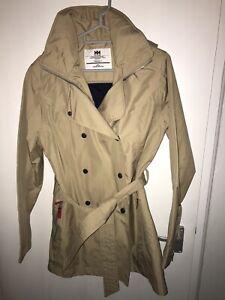 Helly Hansen Beige Mac Waterproof Coat With Hood Size Medium