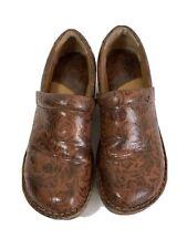 BOC Born Concept Clogs Paisley Brown Floral Embossed Nurse Shoes Slip on Size 10
