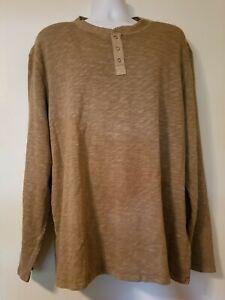 Lucky Brand Two Snap Henley Thermal Shirt Gravel Beige Men's 2XL XXL Long Sleeve