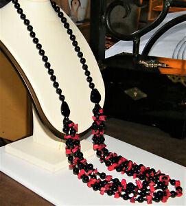 Vintage Genuine RED CORAL & BLACK ONYX 4-STRAND BEADS NECKLACE Statement~Artisan