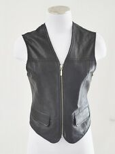 VTG CHIC BoHo Hippie Coachella Black Leather Biker Rocker Western Zip Vest Top S