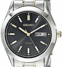 NON-WORKING $215 Seiko Men's Two-Tone Black Dial Solar Calendar Watch SNE047