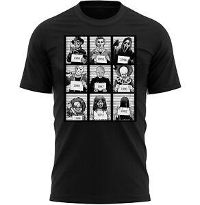 Halloween Movie Mugshot T-Shirt Adults Novelty Shirt Top Gift For Men Women
