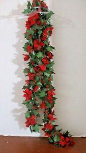 "Beautiful RED POINSETTIA SILK GARLAND~5' 8"""