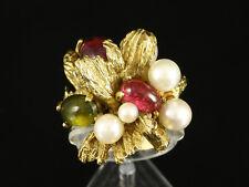 Ausgefallener Turmalin Ring mit Perlen Goldschmiede Grosse  13,9g 750/- Gelbgold