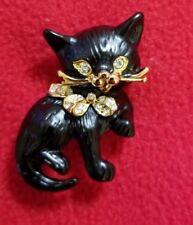 Black Cat Brooch Gold With Rhinestones