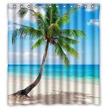Family Decor Palm Emerald Ocean Tropical Coast Beach Sea Bathroom Fabric Shower