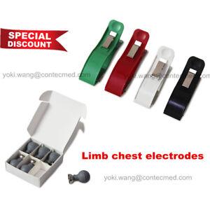 CONTEC Adult Chest Suction Cup Bulb&Limb Clamp ECG EKG Electrodes for Snap/Clip